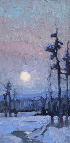 Winter Moonrise - Ken Roth Mockingbird Gallery