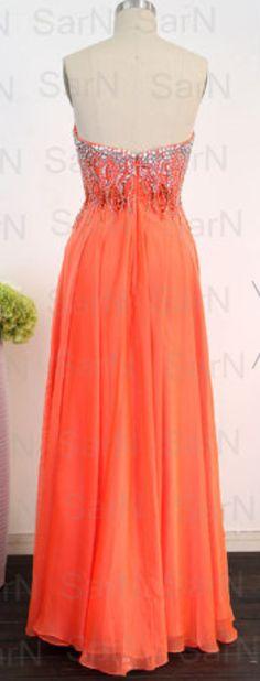 Orange Long Prom Dresses, Custom Or