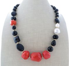 Coral necklace black agate necklace uk beaded by Sofiasbijoux