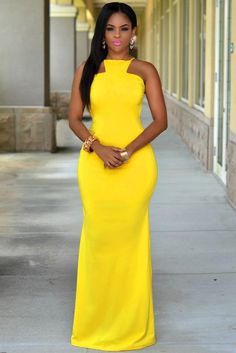Yellow Daring Open Back Sexy Maxi Dress