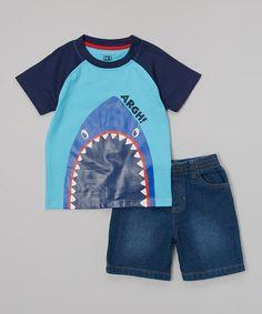 Look what I found on #zulily! Black & Aqua Shark Tee & Denim Shorts - Infant, Toddler & Boys by Kids Headquarters #zulilyfinds