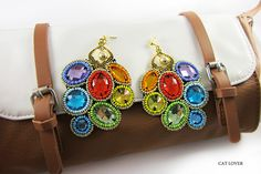 """Earring studs embroidery """"arcobaleno""""    MATERIALS:    Crystals, Czech glass beads, gold-plated hardware, high-quality imitation leather, the Japanese glass"""