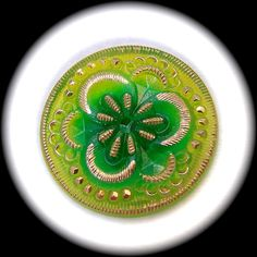 PAiR Czech Glass Buttons 27mm  1 1/16 inch Lime by brizelsupplies