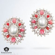 Earrings @Karen Suen Fine Jewellery_ Pair of magical earrings set with 28cts of Natural Pearl and 12.5cts of Conch Pearl adorned with rose cut diamonds!  #KarenSuenFineJewellery