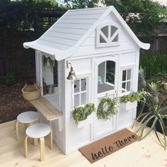 Building your little one a playhouse in the backyard will surely make them happy. However, you'll want it to be safe as well as beautiful. There are a few things you should know before you build a playhouse for kids. Kids Cubby Houses, Kids Cubbies, Play Houses, Build A Playhouse, Playhouse Outdoor, Kids Garden Playhouse, Painted Playhouse, Playhouse Decor, Outdoor Play