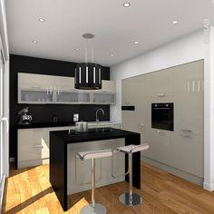 Cuisine couleur argile en L, ouverte sur salon, avec ilot de préparation et snack, plan de travail et jambage noir mat, mur noir et blanc, spots lumineux au plafond – www.oskab.com