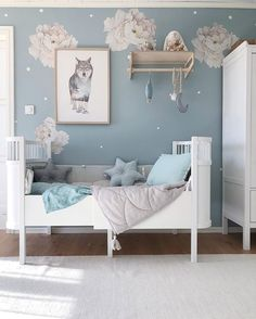 Sweet dreams happen here ✨Thanks for displaying our white peony decals so beautifully! Baby Blue Bedrooms, Blue Girls Rooms, Blue Bedroom Walls, Baby Boy Rooms, Little Girl Rooms, Blue Bedroom Ideas For Girls, Blue Nursery Girl, Light Blue Nursery, Blue And Pink Bedroom