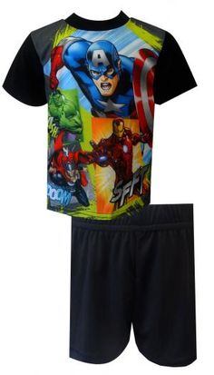 Marvel Comics Avengers Super Team Pajamas Get ready to rumble! These flame resistant short sleeve short pant pajamas for boys f...