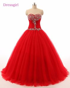 Red Cheap Quinceanera Dresses 2018 Ball Gown Sweetheart Tulle Beaded Crystals Sweet 16 Dresses