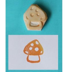 Hand Carved Rubber Stamp Mushroom Handmade / Hand by theKeris by Keris LW