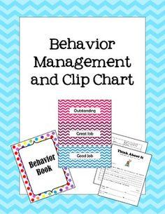 Behavior Management and Chevron Clip Chart. Includes missing assignment form, parent communication, printable reward tickets, Hard Work Cafe reward menu, and resources for behavior documentation