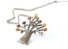 Tree Pendant Autumn Necklace Harvest Mixed Fire Yellow by CCARIA, $31.00