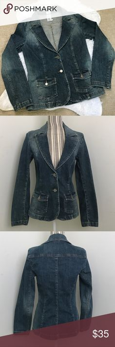 "Calvin Klein Jeans Denim Jacket Denim jacket/blazer in faded blue wash. Size medium. 2 front pockets. EUC. Measurements: Sleeves: 24""  Length: 24 1/4""  Bust: 16 3/4"" Waist:16"" No trades. Offers welcome. Calvin Klein Jeans Jackets & Coats Jean Jackets"