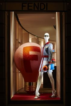 The #FendIDEA capsule collection displayed in the new boutique window theme in the Parisian store on Av. Montaigne.