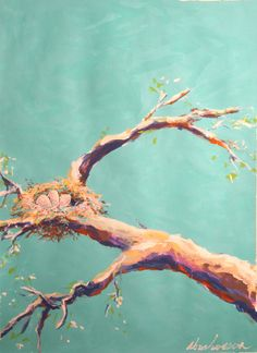 nest in tree Original Contemporary Bird Nest Painting Robin Animal Portrait Acrylic by Evan