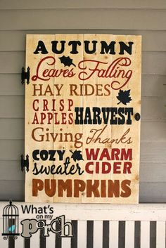 What's On My Porch- Autumn Door Sign with vintage, reclaimed pallet wood.