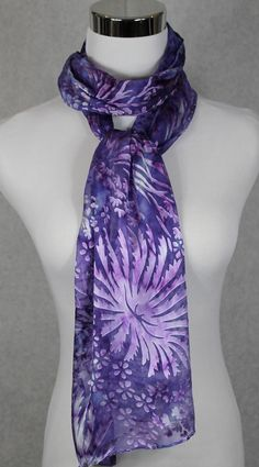Hand Dyed Purple Devore Satin Scarf 14x72 by MJsilkaddiction