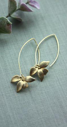 Orchid Flower Earrings. An Orchid Long Chic Drop Dangle Marquise Hook Earrings. Flower Wedding Earrings. Bridesmaids Gifts. By Marolsha.