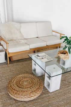 Make your own glass and concrete coffee table for $100 bucks!