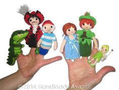 PETER PAN Finger Puppets Pdf Email Knit PATTERN by HandMadeAwards