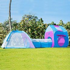 large pop up tent and tunnel