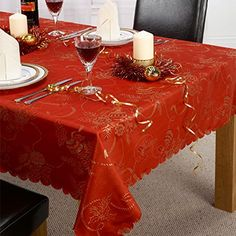 Red Christmas Table Cloth With Gold Threads Design Sizes Available) Christmas Table Cloth, Christmas Napkins, Christmas Design, Red Christmas, Poinsettia, Brussels Christmas, Red Tablecloth, Cutwork, Jacquard Weave