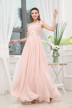 Flowy Hand Made One Shoulder Empire Waist Full A-Line Chiffon Floor-Length Dress