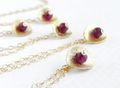 Pomegranate seed necklace  garnet gold disc by soradesigns on Etsy, $32.50