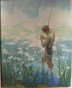 "Wyeth's ""Thoreau Fishing,"" on view in the exhibit ""N. Wyeth's Men of Concord"" at the Concord Museum. Jamie Wyeth, Andrew Wyeth, Nc Wyeth, Illustrator, Howard Pyle, Art Graphique, American Artists, Les Oeuvres, Art Drawings"