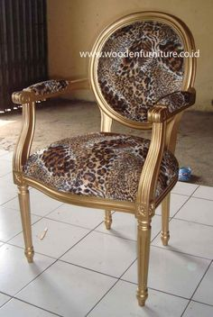Leopard Animal Print Chair Antique Reproduction Dining Chair French Style Italian Wooden Furniture European Home Furniture $81