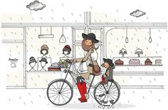 Mad'moiselle C - illustration - Marie BastilleMarie Bastille Bastille, Drawing Sketches, Drawings, Sketching, Craft Images, Bicycle Art, Illustration Girl, Illustrations, Fashion Art