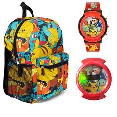 "Pokemon 16"" All Over Print Backpack with Flashing Watch -..."