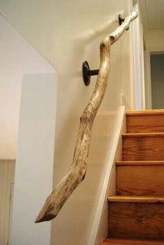 Rustic stair railing.