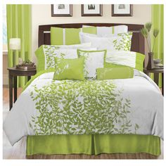 Inspired by nature, this pattern is a refreshing contemporary bedding ensemble.   It is a combination of a panel printed  green leaf  design on a crisp white ground with an overlay of a tonal embroidery adding a textural effect.   Coordinated sheet sets are printed on 200 poly cotton fabric.  Decorative pillows are intricately detailed with clear beads, embroidery and cut and sew techniques that add the finishing touches to your bed. See specifications for additional information.