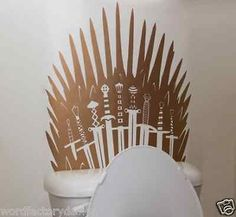 Metallic Game of Thrones Iron Throne inspired Parody Toilet Sticker Sword Decal