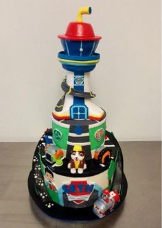 Paw patrol lookout tower cake