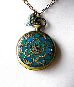 Teal Blue &  Emerald Lotus Mandala Pocket di theDeerCreekHouse, $36.00