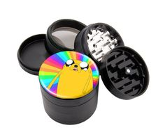 Grind in style with this premium custom black aluminum four piece Spice, Tobacco, Weed and Herb Grinder.  The grinder measures 2.25 wide and 2 tall.