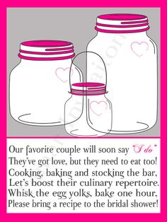 Recipe card for bridal shower cute poem bridal shower items similar to printable mason jar bridal shower invitations recipe cards with poem on etsy filmwisefo