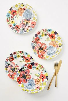 Sissinghurst Castle Side Plates, Set of 4 by Anthropologie in Assorted, Dinnerware Painted Ceramic Plates, Ceramic Pottery, Decorative Plates, Pottery Painting, Ceramic Painting, Farmhouse Dinnerware, Dessert Aux Fruits, Plate Art, Side Plates