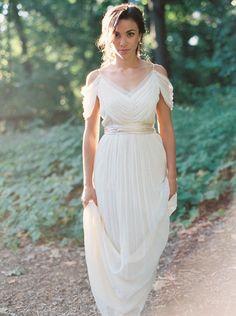 Gorgeous drapey off the shoulder gown via Wedding Sparrow | Photography: Kate Ignatowski | Dress: Saja Wedding