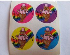 Rare Vintage Lisa Frank Quad of Dancing Bears Stickers - 80's Bear Top Hat Vest…