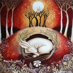 Limited edition giclee of 'The Waiting' by Amanda Clark. Fairy tale art and illustrations, wildlife art, hare art Art And Illustration, Lapin Art, Art Fantaisiste, Illustrator, Clark Art, Rabbit Art, Rabbit Hole, Bunny Art, Fairytale Art