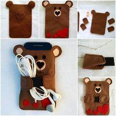 Cómo Hacer Funda para móvil de oso. Haremos una funda para el móvil, hecha a mano, con un diseño de oso.¿Por qué pagar por una funda de móvil cuando podemos