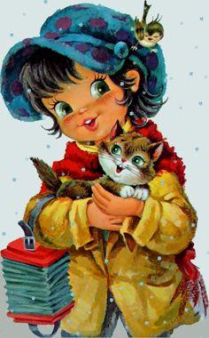 les meli melo de mamietitine - Page 52 Images Vintage, Vintage Artwork, Vintage Pictures, Vintage Cards, Vintage Postcards, Cute Images, Cute Pictures, Vintage Illustration, Art Mignon