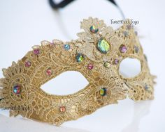 Glamorous Yellow Lace Mardi Gras Mask Embellished by 4everstore, $27.99