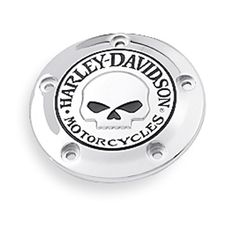 Add some attitude to your ride with this menacing raised skull with black-filled eyes that leaps from a field of chrome. | Harley-Davidson Willie G. Skull Timer Cover