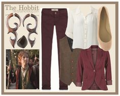 Inspired By: The Hobbit by chelsealauren10  Forever New lace blouse, $63 / blazer, $49 / Vest, $63 / Hollister Co. vintage jeans / Vera Wang Lavender Label ballerina flat / Wooden post earrings / Kenneth Cole wooden ring