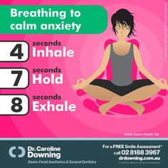 Breathing tip to calm anxiety... 4 seconds: Inhale, 7 seconds: Hold, 8 seconds: Exhale. / For a Free Smile Assessment*, please call 02 8188 3967 - www.drdowning.com.au / (*) Please call our office for Terms & Conditions. #SmileDocs #SmileDeals #drdowning #carolinedowning #australia #dentalpractice #cosmeticdentistry #dentaljob #dentistryservices #implantdentistry #invisalign #teethwhitening #dentalcare #dentalfiller #dentalcare #cosmetic #dentist #NeutralBay #confidence #dentistryservice…