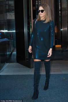 Jessica Alba wearing Stuart Weitzman Highland Boots, Komono Crafted Stella Sunglasses in Black and Melinda Maria Preston Drop Earrings